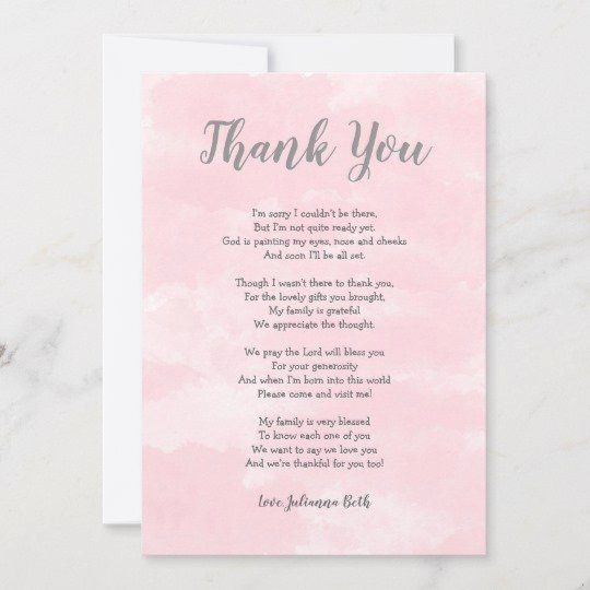Thank You Letter Baby Shower Awesome Pink Watercolor Baby Shower Thank You Note Poem