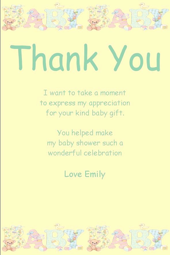 Thank You Letter Baby Shower Beautiful Personalised Baby Shower Thank You Card Design 10