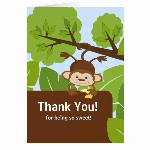 Thank You Letter Baby Shower Beautiful Safari Monkey Baby Shower Thank You Note Card