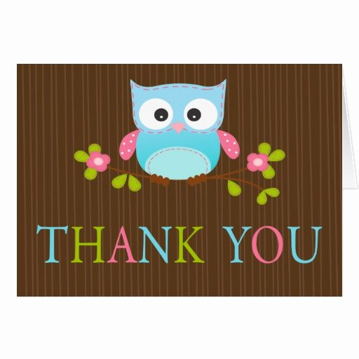 Thank You Letter Baby Shower Best Of Modern Baby Shower Owl Thank You Note Card
