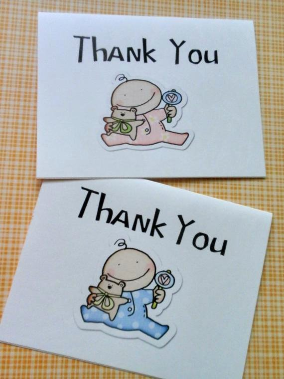 Thank You Letter Baby Shower Elegant Items Similar to Printed Baby Shower Thank You Note Cards