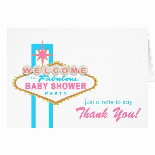 Thank You Letter Baby Shower Elegant Las Vegas Baby Shower Sign Thank You Note Card