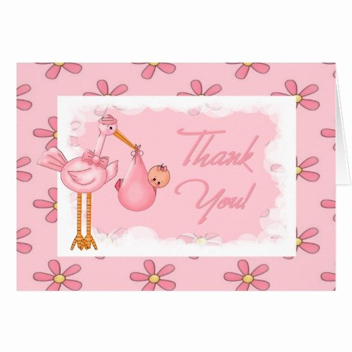 Thank You Letter Baby Shower Fresh Baby Shower Thank You Note Greeting Card