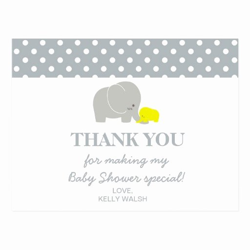 Thank You Letter Baby Shower Lovely Elephant Baby Shower Thank You Note Polka Dots Postcard