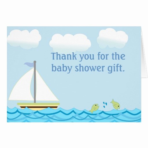Thank You Letter Baby Shower Lovely Sailboat Baby Shower Thank You Note Card