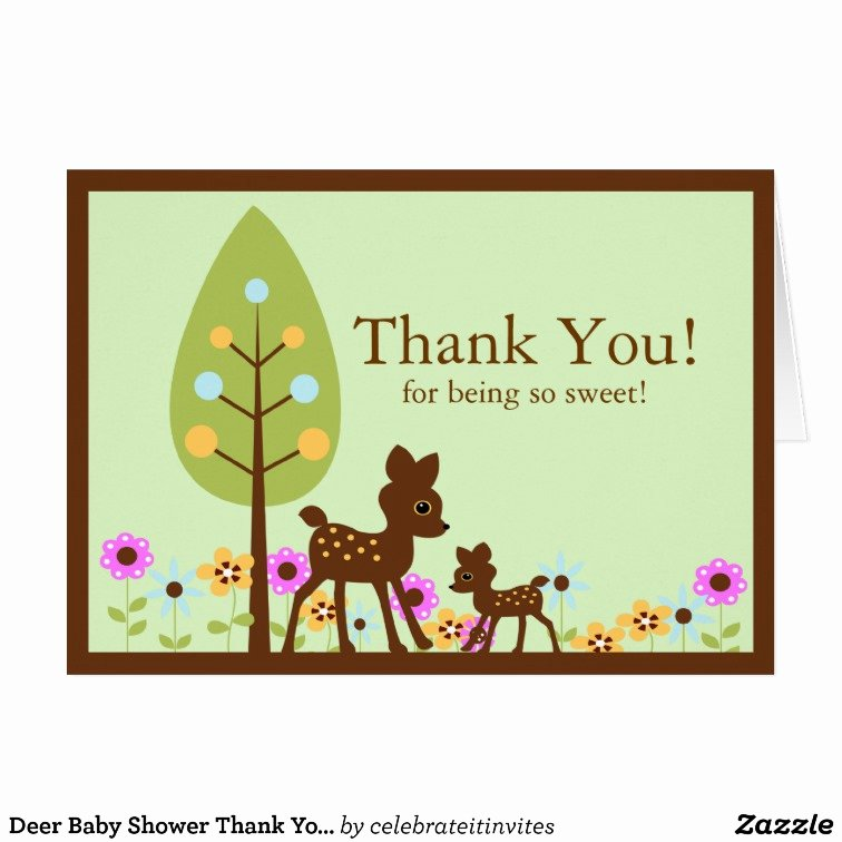 deer baby shower thank you note card