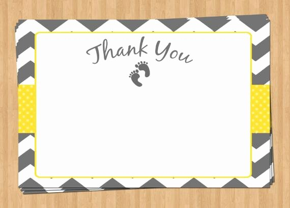 Thank You Letter Baby Shower New Printable Baby Shower Thank You Note Card Baby Footprints