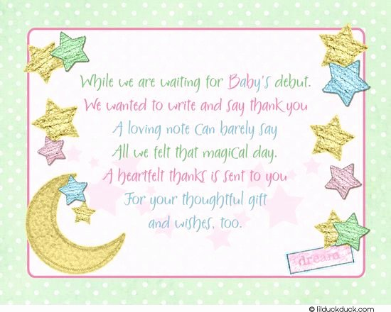 Thank You Letter Baby Shower New Thank You Notes Girl Baby Shower