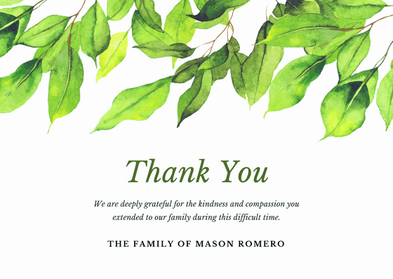 Thank You Letter for Funeral Lovely Bereavement Thank You Card Wording Examples