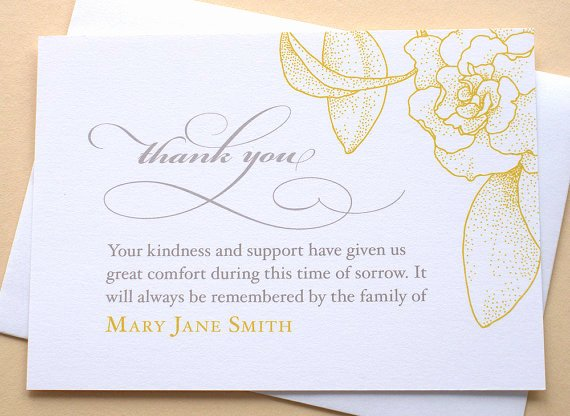 Thank You Letter for Funeral Lovely English or Spanish Sympathy Thank You Cards with A Big Yellow