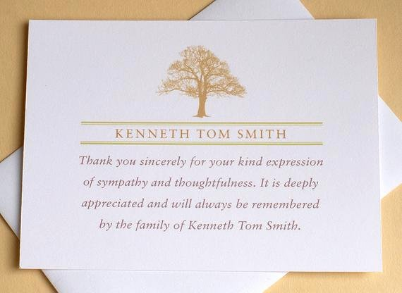Thank You Letter for Funeral New Funeral Thank You Notes with A Strong Tree Personalized