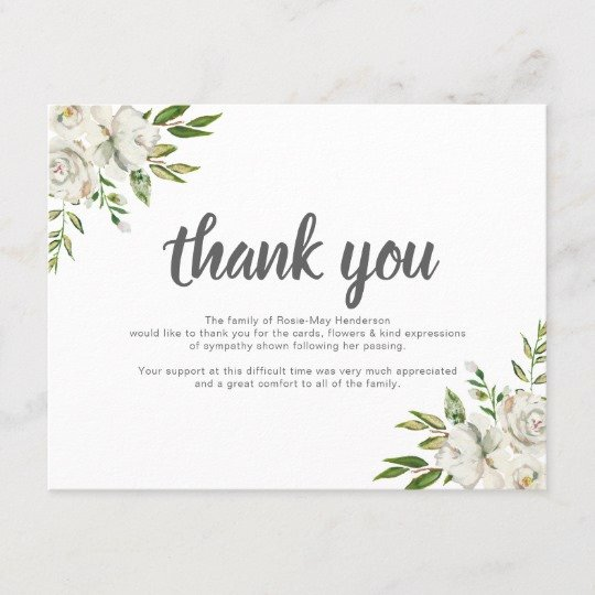 Thank You Letter for Funeral New Personalized Funeral Thank You Note