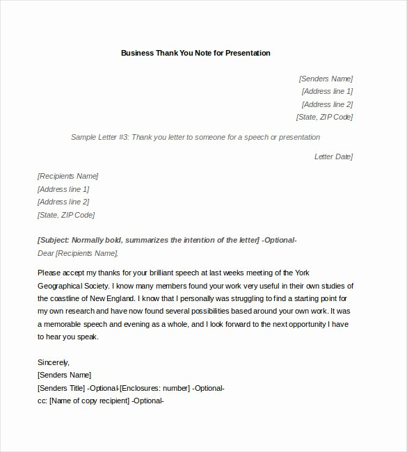 Thank You Letter for Presentation Elegant 8 Business Thank You Notes Free Sample Example format