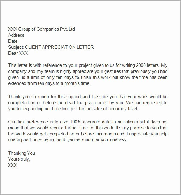 Thank You Letter to Client Lovely Free 27 Sample Thank You Letters for Appreciation In Pdf
