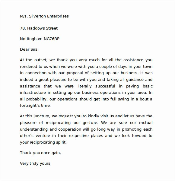 Thank You Letter to Client Unique Sample Thank You for Your Business Letter 9 Documents