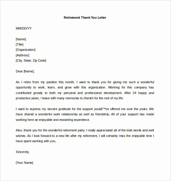 Thank You Letter to Employer Awesome 9 Retirement Letter Templates Word Pdf