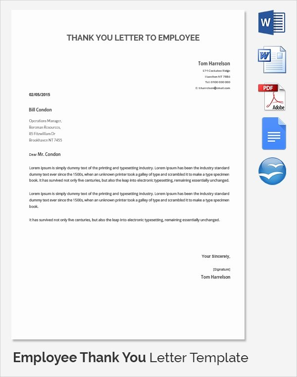 Thank You Letter to Employer Beautiful Sample Thank You Letter to Employer 18 Download Free