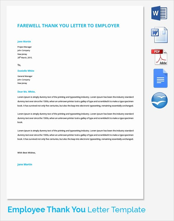 Thank You Letter to Employer Elegant Sample Thank You Letter to Employer 18 Download Free