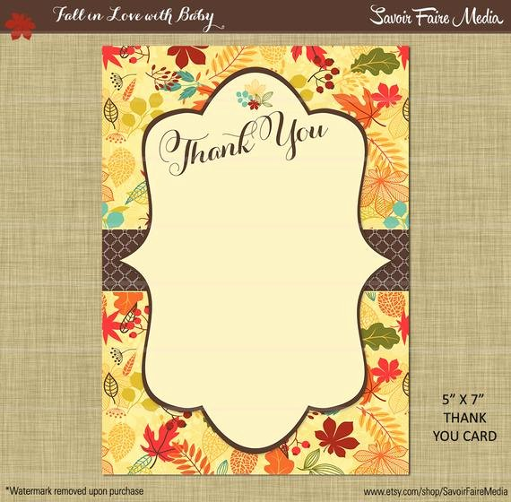 Thank You Lunch Invitation Elegant Fall Thank You Card Brown Bridal Baby Shower Floral