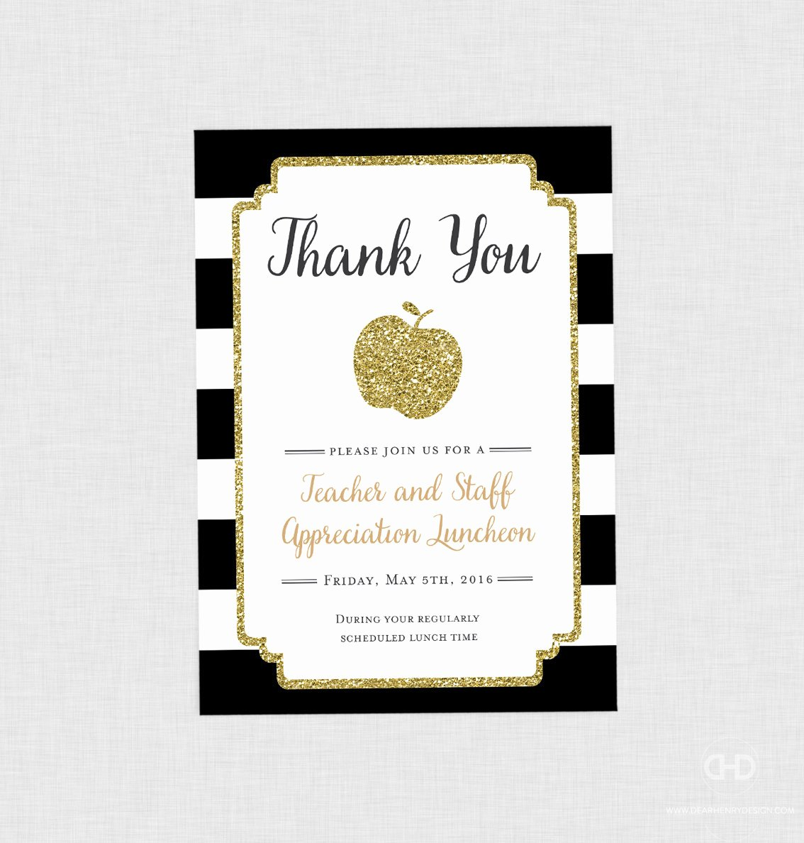 Thank You Lunch Invitation Elegant Teacher Appreciation Invitation Apple Printable Teacher