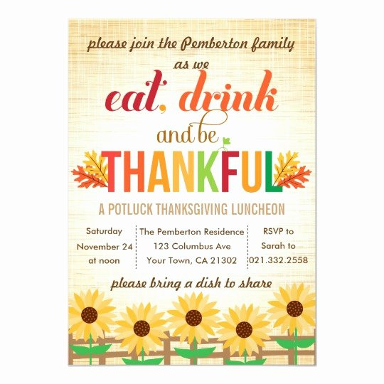 Thank You Lunch Invitation Lovely Thanksgiving Lunch Potluck Eat Drink Give Thanks