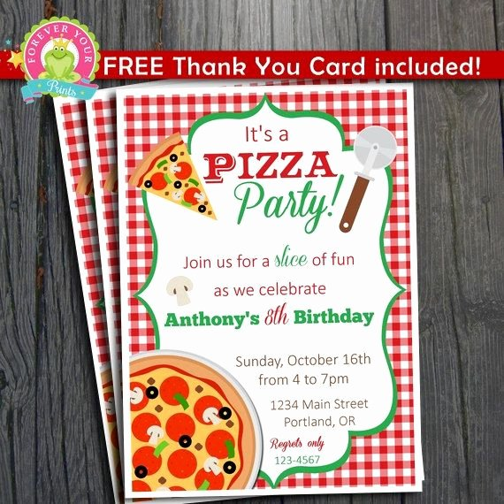 Thank You Lunch Invitation Luxury Pizza Party Invitation Free Thank You Card Included