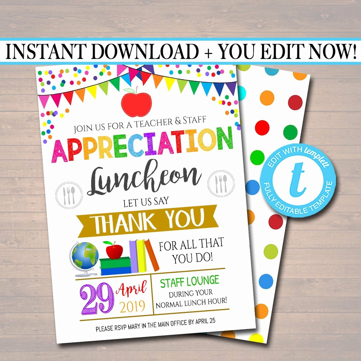 Thank You Lunch Invitation New Editable Teacher Appreciation Staff Invitation Thank You
