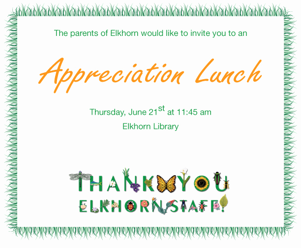 Thank You Lunch Invitation Unique Staff Appreciation Lunch 2012 Elkhorn School Council