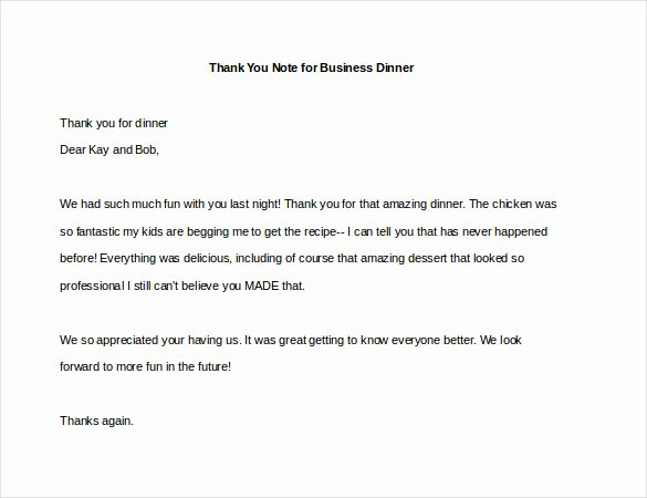 Thank You Note after Dinner Lovely 8 Thank You Note for Dinner – Free Sample Example