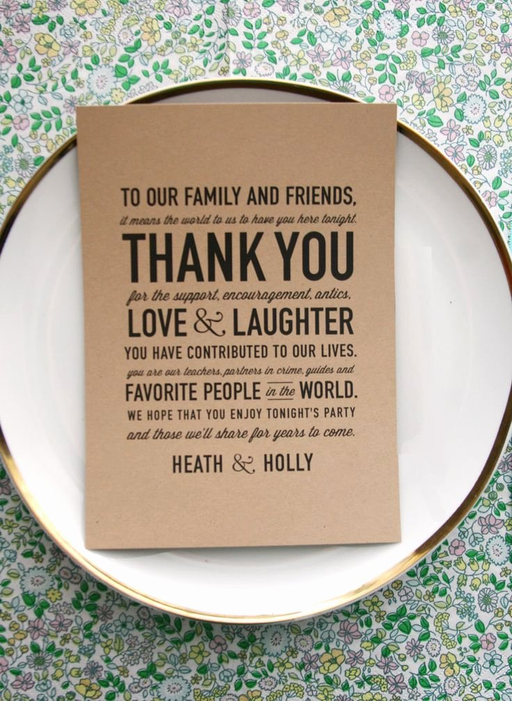 Thank You Note after Dinner Lovely Wedding Reception Thank You Card so Sweet and Makes A