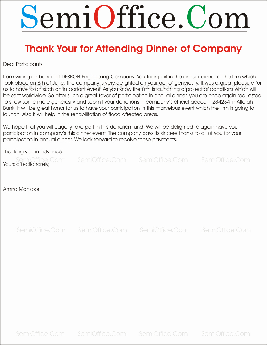 Thank You Note after Dinner Luxury Thank You Letter to attendees for attending the Pany Dinner