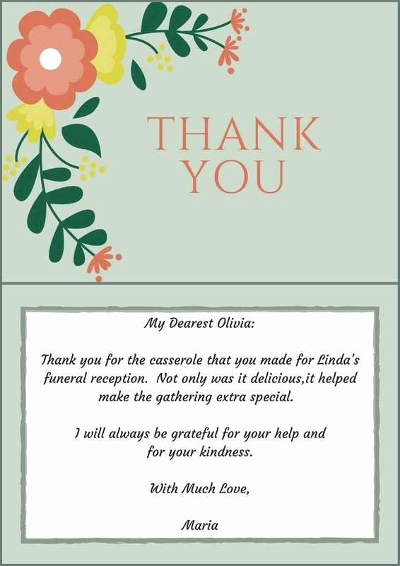 Thank You Note after Dinner New 33 Best Funeral Thank You Cards
