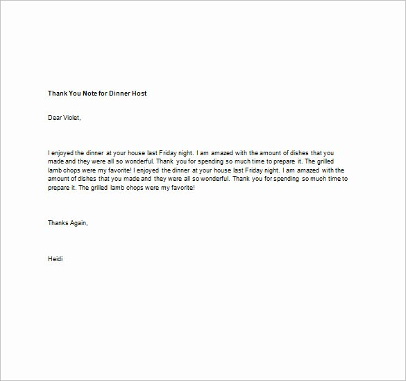 Thank You Note after Dinner Unique Thank You Note for Dinner – 8 Free Word Excel Pdf