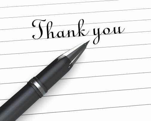 Thank You Note for Presentation Inspirational 0914 Thank You Note Paper with Pen Stock