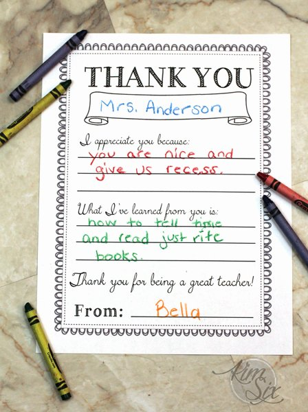 Thank You Note Teacher Awesome Printable Teacher Thank You Note