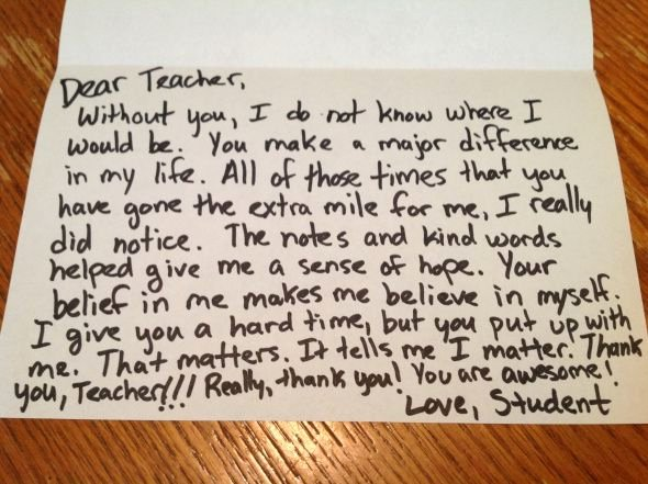 Thank You Note Teacher Beautiful A sincere Thank You Note is Usually the 1 Thing Teachers