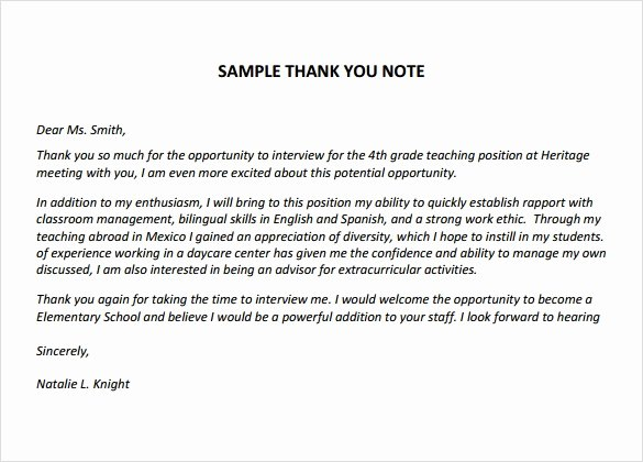 Thank You Note Teacher Elegant Sample Thank You Notes for Teachers 5 Documents In Pdf