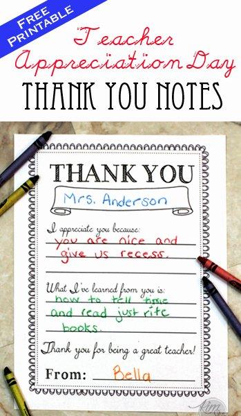 Thank You Note Teacher Elegant Teacher Appreciation Day Printable Thank You Notes