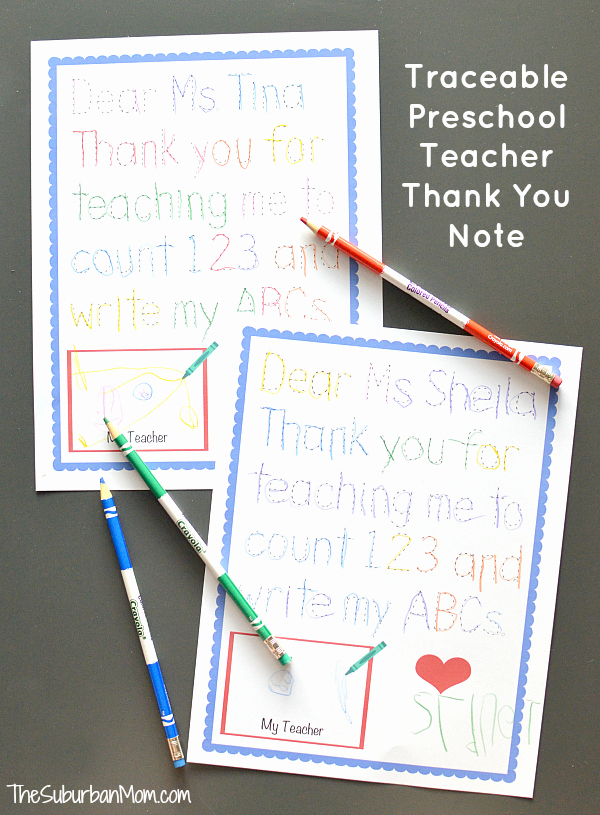 Thank You Note Teacher Elegant Traceable Preschool Teacher Thank You Note