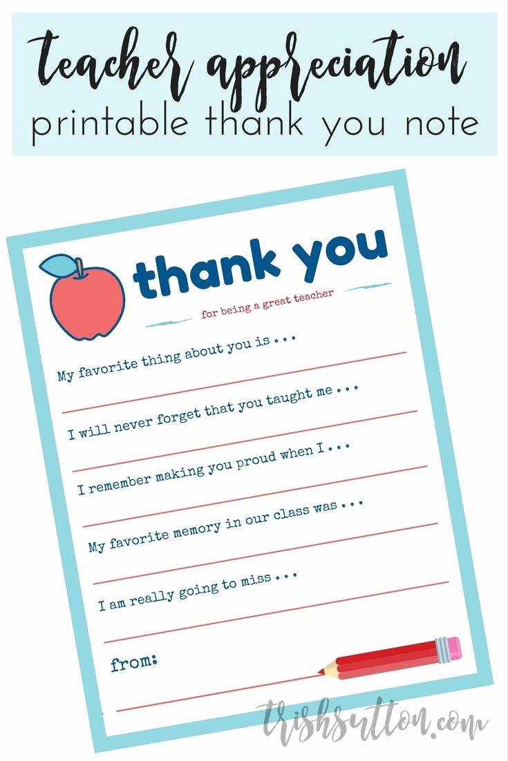 Thank You Note Teacher Inspirational Teacher Appreciation Week Printable