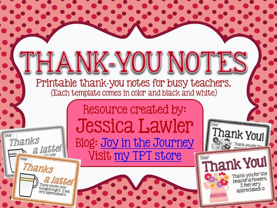 Thank You Note Teacher Lovely Thank You Notes From Teachers to Students Freebie Joy