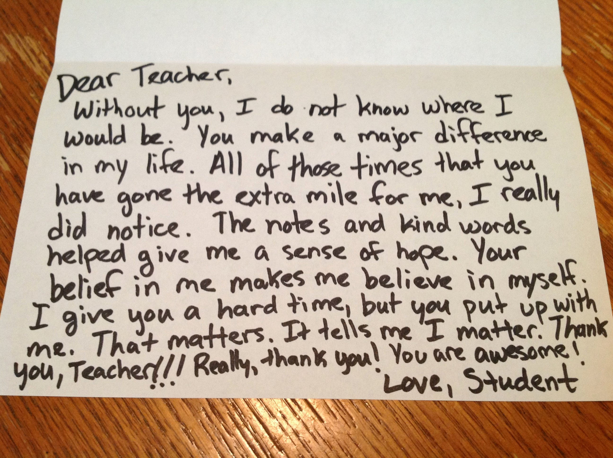 Thank You Note Teacher Lovely the Thank You Note You May Never Get – Dear Teacher Love