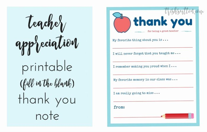 Thank You Note Teacher New Teacher Appreciation Week Printable Thank You Note