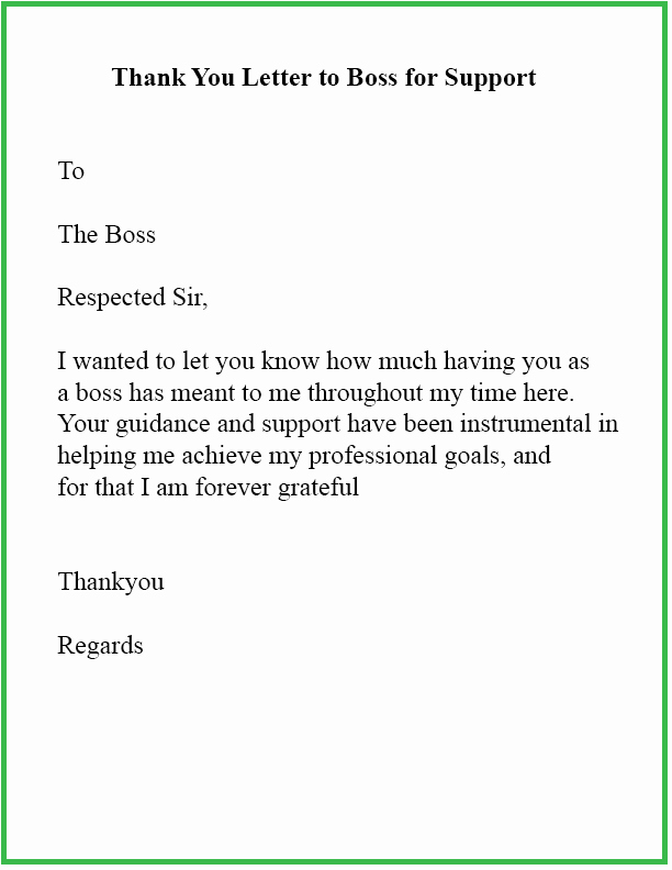 Thank You Note to Manager Awesome 15 Sample format Of Thank You Letter Template to Boss