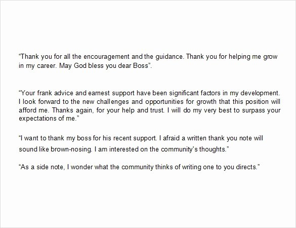 Thank You Note to Manager Unique Sample Thank You Note to Boss 6 Documents In Pdf Word