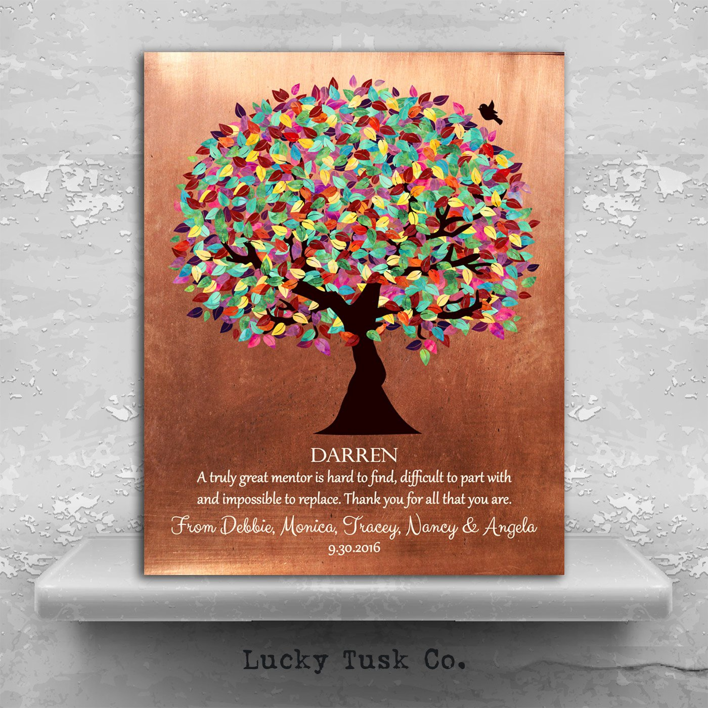 Thank You Note to Mentor Awesome Mentor Gift Colorful Tree Of Faux Copper Background