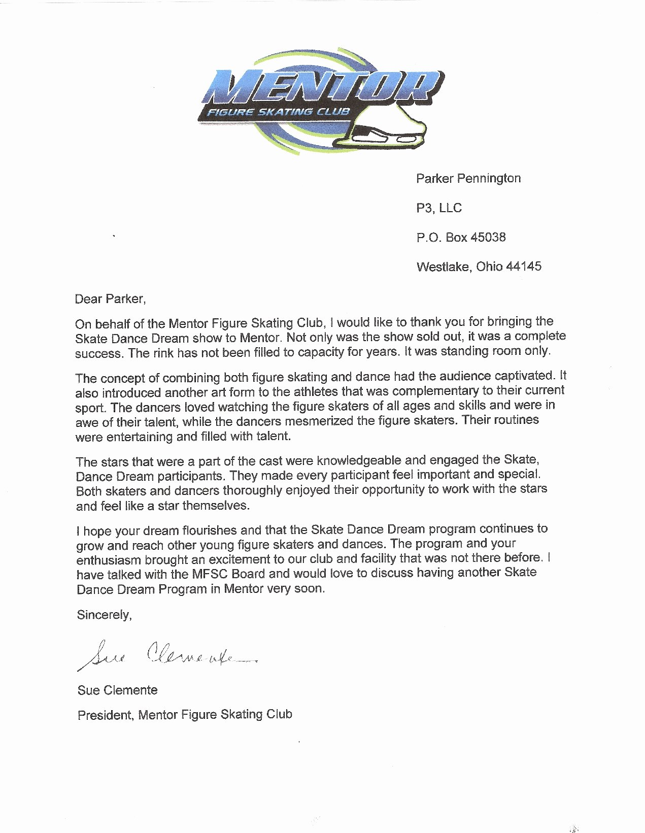 Thank You Note to Mentor Beautiful Letter Of Support From the Club President Of the Mentor