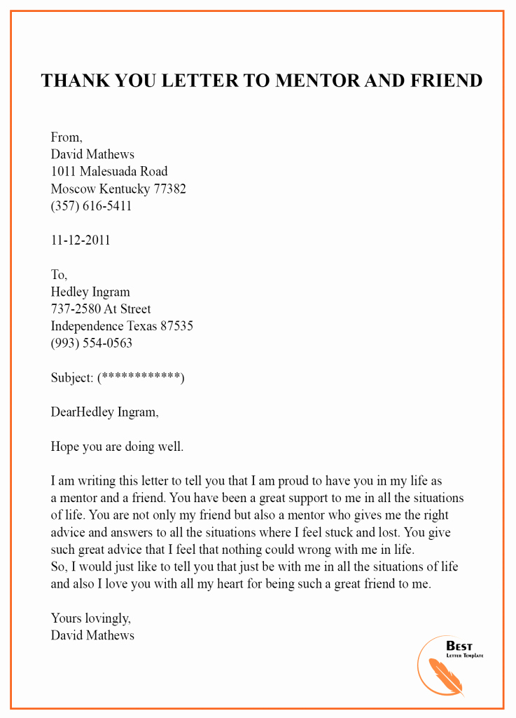 Thank You Note to Mentor Lovely Thank You Letter Template to Mentor – Sample & Examples