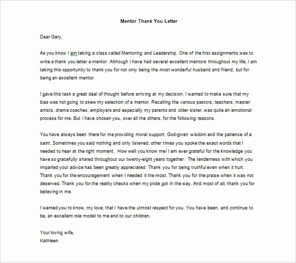 Thank You Note to Mentor New Thank You Letter to Mentor – 9 Free Sample Example