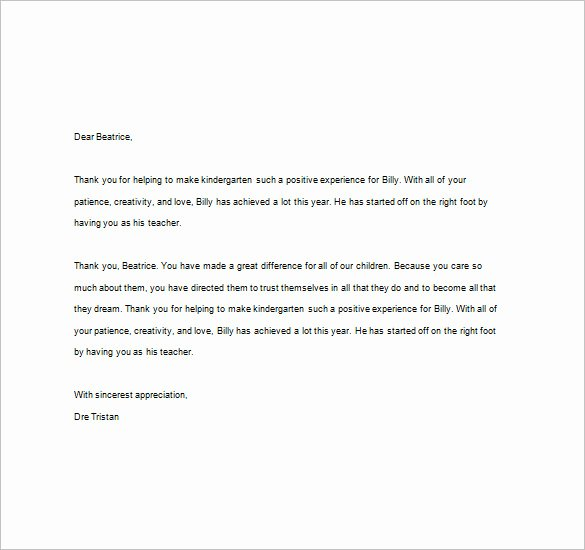Thank You Note to Parents Awesome Thank You Notes for Teacher – 8 Free Word Excel Pdf